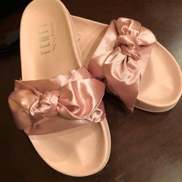 aae4cd47fb0 Puma x Fenty pink satin bow slides size 7.5. M 5aebf7aaa825a61bcb434020
